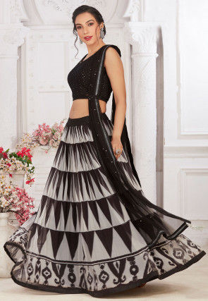 Embroidered Georgette Lehenga in Black and Off White