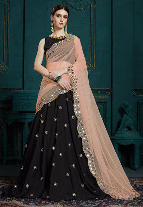 Embroidered Georgette Lehenga in Black