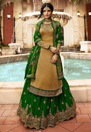Embroidered Satin Georgette Lehenga in Dark Beige and Green