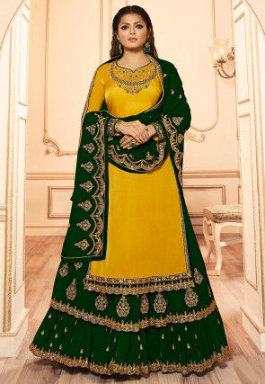 Embroidered Georgette Lehenga in Dark Green