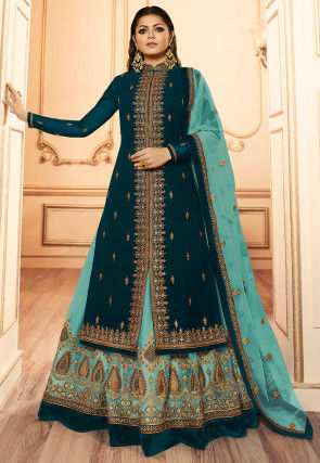 Embroidered Georgette Lehenga in Dark Teal Blue