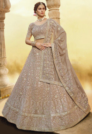 Embroidered Georgette Lehenga in Dusty Peach