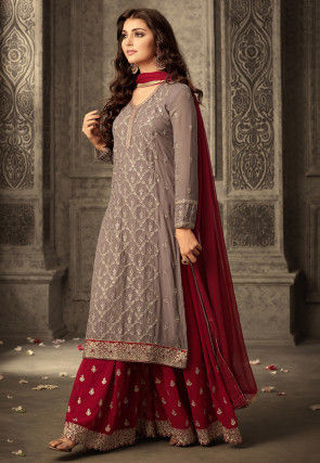 Embroidered Georgette Sharara Lehenga in Fawn