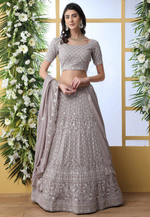 Embroidered Georgette Lehenga in Fawn