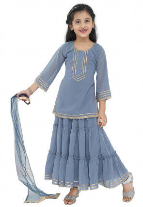 Embroidered Georgette Lehenga in Grey
