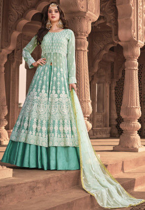 Embroidered Georgette Lehenga in Light Blue