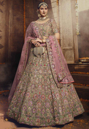 Embroidered Georgette Lehenga in Light Brown