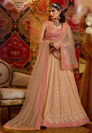 Embroidered Georgette Lehenga in Light Fawn