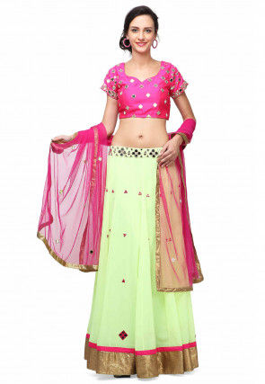 Embroidered Georgette Lehenga in Light Green