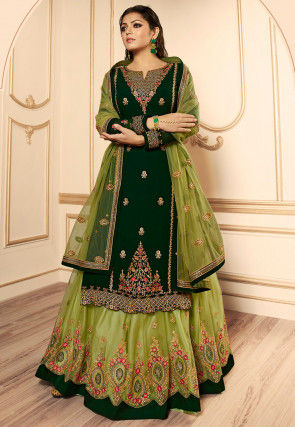 Embroidered Georgette Lehenga in Light Olive Green