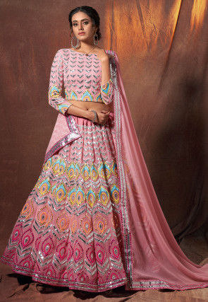 Embroidered Georgette Lehenga in Light Pink