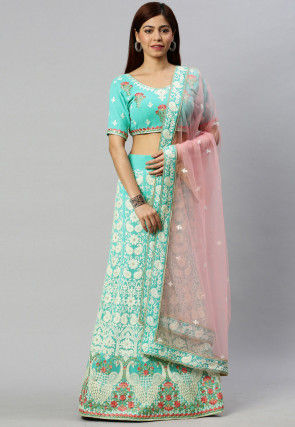 Embroidered Georgette Lehenga in Light Turquoise