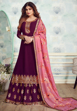 Embroidered Georgette Lehenga in Magenta