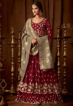 Embroidered Georgette Lehenga in Maroon