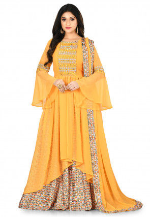 Embroidered Georgette Lehenga in Mustard