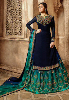 Embroidered Georgette Lehenga in Navy Blue