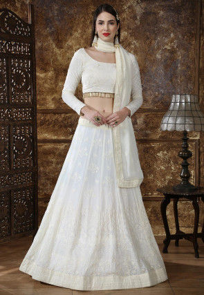 Embroidered Georgette Lehenga in Off White