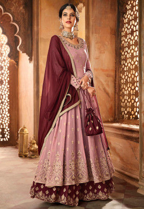 Embroidered Georgette Lehenga in Old Rose