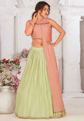 Embroidered Georgette Lehenga in Pastel Green