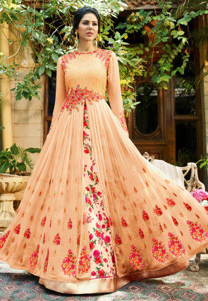Embroidered Georgette Lehenga in Pastel Orange