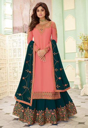 Embroidered Georgette Lehenga in Peach