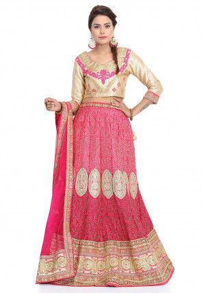 Embroidered Georgette Lehenga in Pink
