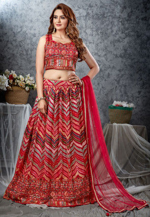 Embroidered Georgette Lehenga in Red and Multicolor