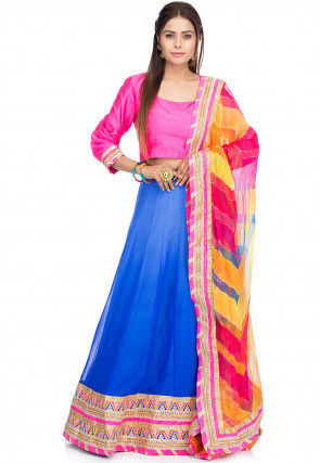 Embroidered Georgette Lehenga in Shaded Blue