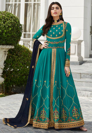 Embroidered Georgette Lehenga in Teal Blue