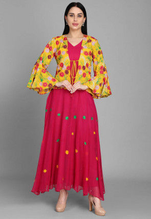 Embroidered Georgette Long Anarkali Kurta Jacket in Fuchsia