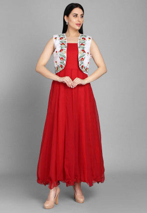 Embroidered Georgette Long Anarkali Kurta Jacket in Red