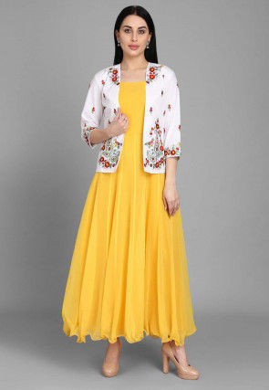 Embroidered Georgette Long Anarkali Kurta Jacket in Yellow