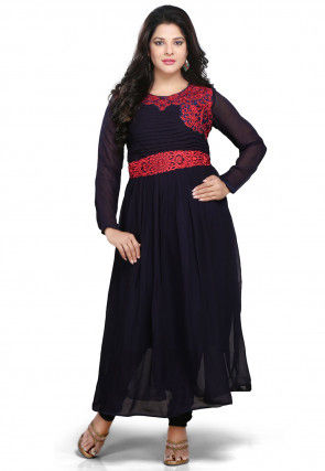 Embroidered Georgette Long Dress In Navy Blue