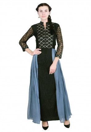 Embroidered Georgette Long Kurta in Black and Dusty Blue