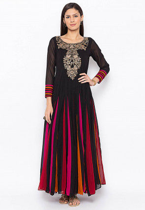 Embroidered Georgette Long Kurta in Black and Multicolor