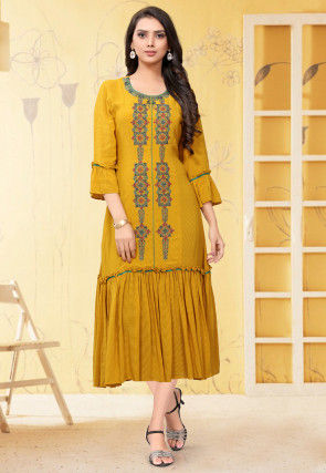 Embroidered Georgette Long Kurta in Mustard