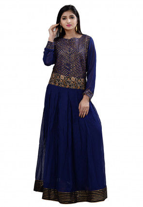 Embroidered Georgette Long Kurta in Navy Blue