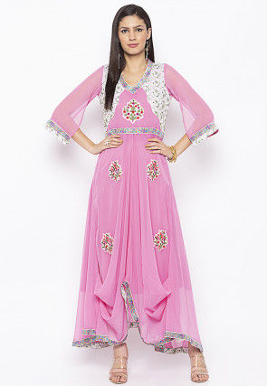 Embroidered Georgette Long Kurta in Pink