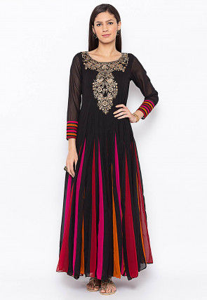Embroidered Georgette Long Kurta Set in Black and Multicolor