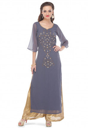 Embroidered Georgette Long Kurta Set in Grey