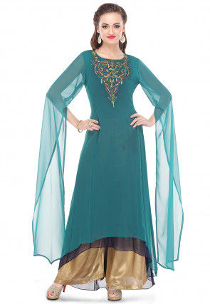 Embroidered Georgette Long Kurta Set in Teal Green