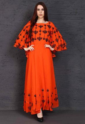 Embroidered Georgette Maxi Dress in Dark Orange
