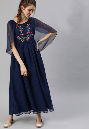 Embroidered Georgette Maxi Dress in Navy Black