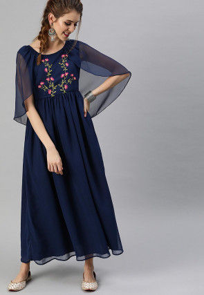 Embroidered Georgette Maxi Dress in Navy Blue