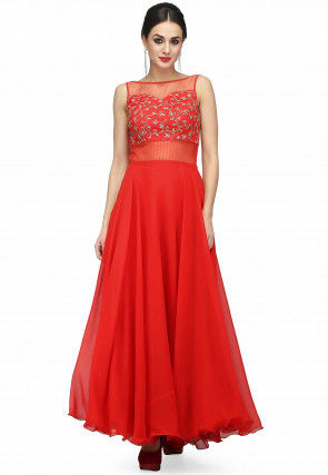 Embroidered Georgette Maxi Dress in Red