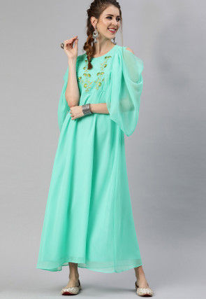 Embroidered Georgette Maxi Dress in Sea Green