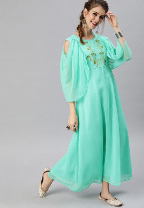Embroidered Georgette Maxi Dress in Turquoise