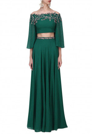 Embroidered Georgette Off Shoulder Top with Skirt in Dark Green