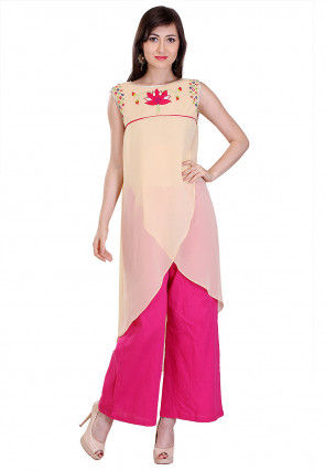 Embroidered Georgette Overlapping Kurta Set in Beige