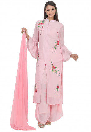 Embroidered Georgette Pakistani Suit in Baby Pink